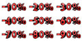 Discount percent set isolated done in d Stock Image