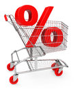 The discount percent sign inside a shopping cart Stock Photography