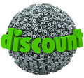 Discount percent sign sphere save money sale price word on symbol to illustrate a special or clearance Stock Photos