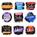 Discount and price tag, sale banners with grange brushed frames and distressed textures vector set Royalty Free Stock Photo