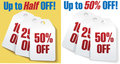 Discount price tags 50 percent off sale