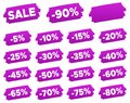Discount Price Tags - Purple Discount Label Set. Royalty Free Stock Photo