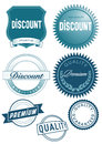 Discount and quality icons blue graphic or stickers for discounts or Royalty Free Stock Photography