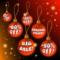 Discount Red Christmas Labels - vector Royalty Free Stock Photos