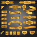 Discount retro ribbon golden set best sale offer isolated vector illustration Royalty Free Stock Photography