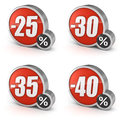 Discount sale d icon on white background percentage icons set isolated with clipping path Royalty Free Stock Photos