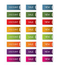Discount sale new button set blue green red yellow orange purple violet buttons with an fold away edge and a dark shadow for Stock Photo
