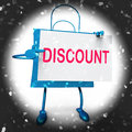 Discount Shopping Bag Shows Markdown Products and Bargains Royalty Free Stock Photo