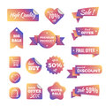 Discount shopping banners and pricing labels with ribbons vector set