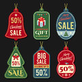 Discount tags set of vintage for big christmas sale Stock Photography
