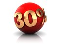 Discount thirty percent on red sphere d illustration of with golden sign of Stock Photography