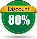 80 Discount web button Royalty Free Stock Photo