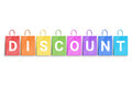 Discount word written on colorful shopping bags. Free space for text Royalty Free Stock Photo