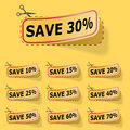 Discount yellow labels Stock Photos
