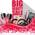 Discounted Cosmetic Products on white background Royalty Free Stock Photo