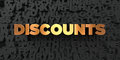 Discounts - Gold text on black background - 3D rendered royalty free stock picture