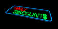 Daily discounts sign in neon lights Royalty Free Stock Photo