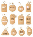 Discounts tags. Drop price and big sales. Vector pictures of labels set isolate Royalty Free Stock Photo