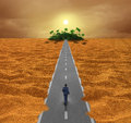 Discover opportunity concept business for success as a person walking on a desert road to an oasis of hope or a spiritual journey Stock Photos