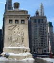 Discoverers in snow this is a winter picture of the art work on the northeast tower of the michigan avenue bridge over the chicago Royalty Free Stock Photography