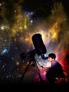Discovering the universe young boy observing through eyepiece of a telescope illustration for promotion of discovery of Royalty Free Stock Photos
