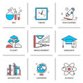 Discovery and science line icons set flat of new things school measurement items chemistry planet adventures planet geography Royalty Free Stock Photography
