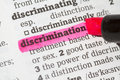Discrimination dictionary definition single word with soft focus Royalty Free Stock Image