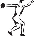 Discus stylized thrower black and white illustration Royalty Free Stock Photo