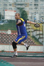 Discus throw male athlete performing during discipline at romanian international atheltics championship stefan cel mare stadium Stock Image