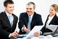 Discussing documents Royalty Free Stock Photo