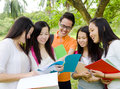 Discussion asian students in the Stock Image