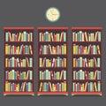 Diseño del vintage de tres estantes para libros Foto de archivo libre de regalías