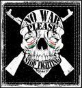 Diseño gráfico de la camiseta de logo emblem de la guerra de la parada del hombre del cráneo Fotografía de archivo libre de regalías