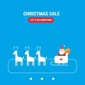 Diseño plano lindo de la tarjeta de felicitación de santa claus new year christmas holiday Imagen de archivo libre de regalías