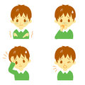 Disease symptoms boy and signs fever and chills headache and nausea cough expressions Stock Images
