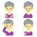 Disease symptoms old woman and signs fever and chills headache and nausea cough expressions Stock Photos
