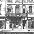 Disegno artistico di un facede con il balcone lungo Immagine Stock Libera da Diritti
