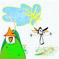 Disegno Child-like Fotografie Stock Libere da Diritti