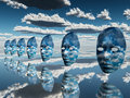 Disembodied faces hover in surreal scene Royalty Free Stock Photo