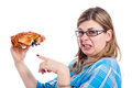 Disgusted woman with crab Royalty Free Stock Image
