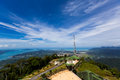 Dish antenna on the top of the mountain langkawi malaysia Stock Photo