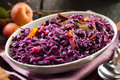 Dish of braised red cabbage and apple Royalty Free Stock Photo
