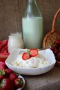 Dish of cottage cheese with cream and a bottle of milk Royalty Free Stock Photo