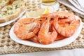 Dish of fresh boiled shrimps Royalty Free Stock Photo