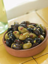 Dish of Mixed Marinated Olives Royalty Free Stock Photos