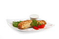 Dish of pancakes with vegetables
