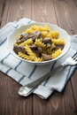 Dish pasta mushroom wood table Stock Photography