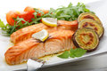 Dish of roasted salmon with sweet potatoes Royalty Free Stock Photography
