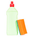 Dish soap container light green plastic dishsoap with red cap and orange sponge isolated on white background Royalty Free Stock Photography