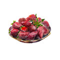 Dish of strawberries isolated on white background, watercolor illustration